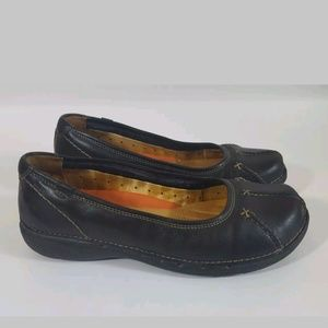 Clarks flats 6 unstructured leather black